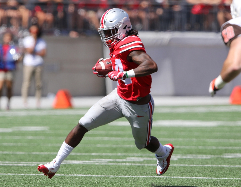 Sep 3, 2016; Columbus, OH, USA; Ohio State Buckeyes safety Malik Hooker (24) returns his second interception during the second half against the Bowling Green Falcons at Ohio Stadium. The Buckeyes won 77-10. Mandatory Credit: Joe Maiorana-USA TODAY Sports