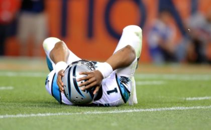Sep 8, 2016; Denver, CO, USA; Carolina Panthers quarterback Cam Newton (1) reacts in pain after suffering an injury in the third quarter against the Denver Broncos at Sports Authority Field at Mile High. Mandatory Credit: Mark J. Rebilas-USA TODAY Sports