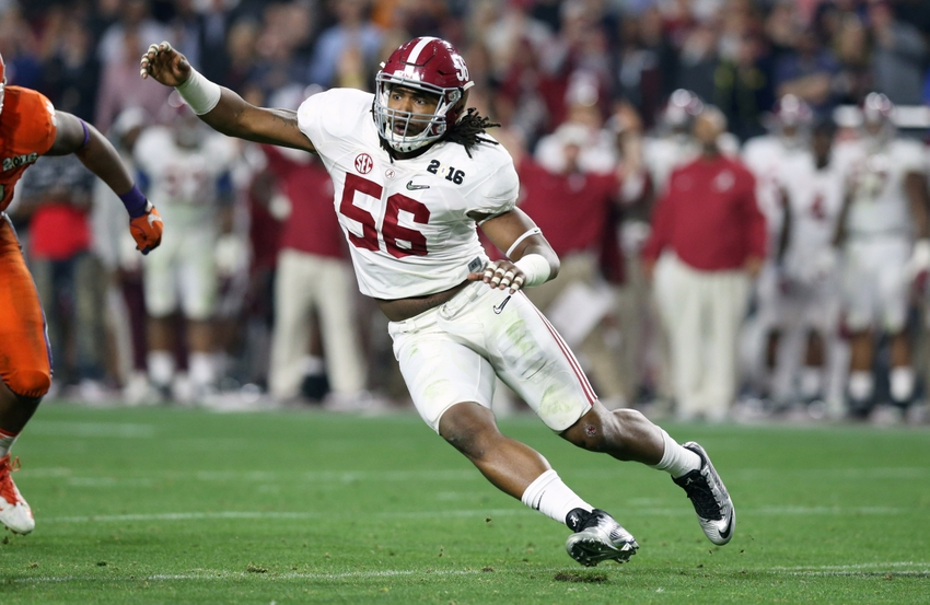 Jan 11, 2016; Glendale, AZ, USA; Alabama Crimson Tide linebacker Tim Williams (56) in action against the Clemson Tigers in the 2016 CFP National Championship at University of Phoenix Stadium. Mandatory Credit: Matthew Emmons-USA TODAY Sports