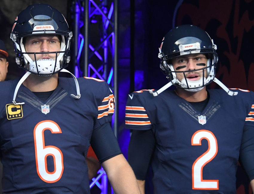 Sep 19, 2016; Chicago, IL, USA; Chicago Bears quarterback Jay Cutler (6) and quarterback Brian Hoyer (2) takes the field prior to the game against the Philadelphia Eagles at Soldier Field. Mandatory Credit: Mike DiNovo-USA TODAY Sports