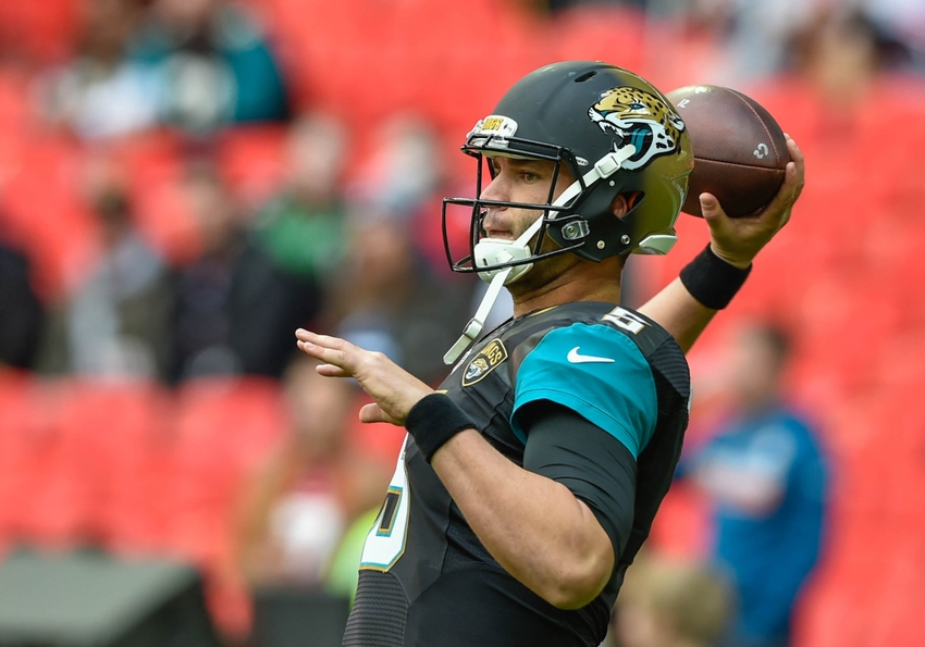 Oct 2, 2016; London, ENG;  Jacksonville Jaguars quarterback Blake Bortles (5) warms up before the game between the Jacksonville Jaguars and the Indianapolis Colts at Wembley Stadium. Mandatory Credit: Steve Flynn-USA TODAY Sports