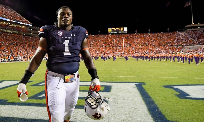Sep 3, 2016; Auburn, AL, USA; Auburn Tigers defensive tackle Montravius Adams (1) walks off the field at halftime against the Clemson Tigers during the first half at Jordan Hare Stadium. Mandatory Credit: Shanna Lockwood-USA TODAY Sports