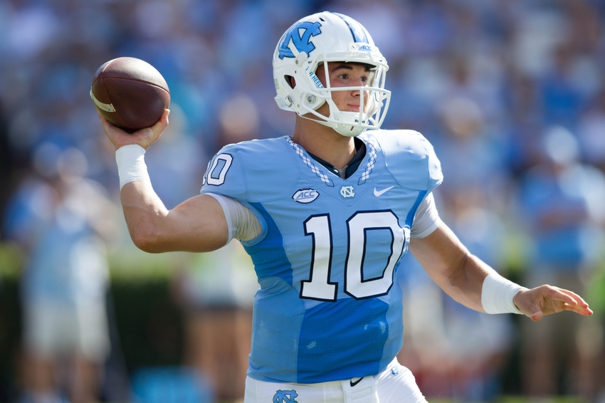 Sep 24, 2016; Chapel Hill, NC, USA; North Carolina Tar Heels quarterback Mitch Trubisky (10) passes the ball during the first quarter against the Pittsburgh Panthers at Kenan Memorial Stadium. Mandatory Credit: Jeremy Brevard-USA TODAY Sports