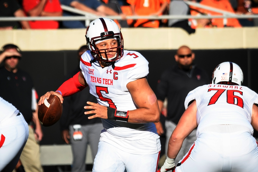 Nov 12, 2016; Stillwater, OK, USA; Texas Tech Red Raiders quarterback Patrick Mahomes II (5) looks to pass against the Oklahoma State Cowboys during the first half at Boone Pickens Stadium. Mandatory Credit: Rob Ferguson-USA TODAY Sports