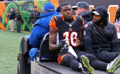 Nov 20, 2016; Cincinnati, OH, USA; Cincinnati Bengals wide receiver A.J. Green (18) is carted off the field after being injured in the first half against the Buffalo Bills at Paul Brown Stadium. Mandatory Credit: Aaron Doster-USA TODAY Sports