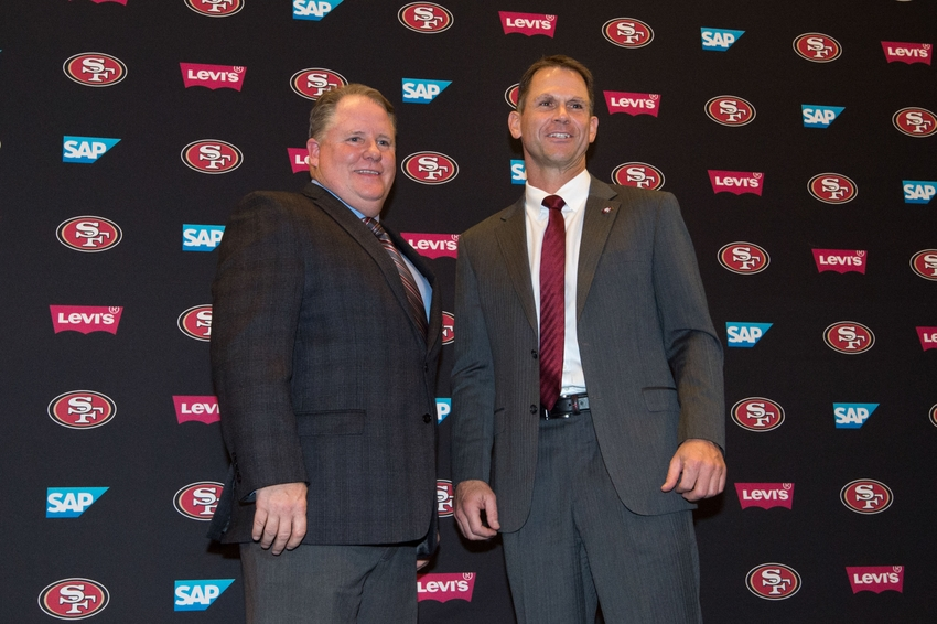 January 20, 2016; Santa Clara, CA, USA; Chip Kelly (left) and San Francisco 49ers general manager Trent Baalke (right) pose for a photo in a press conference after naming Kelly as the new head coach for the San Francisco 49ers at Levi