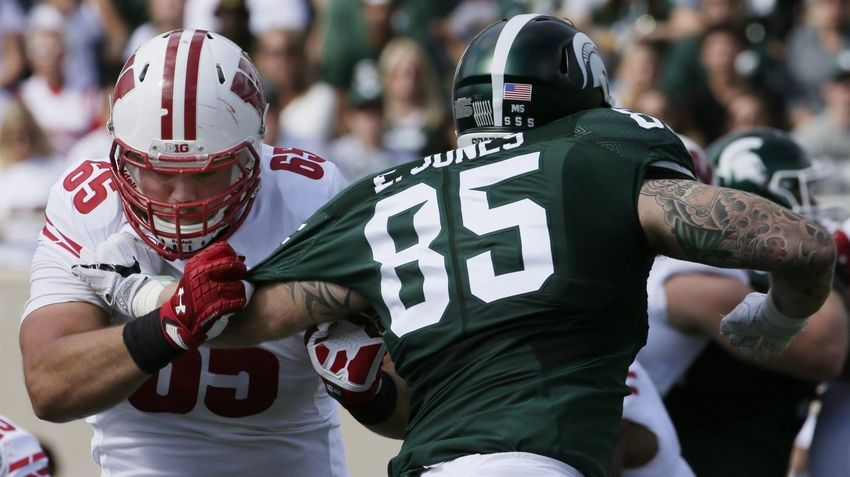 Sep 24, 2016; East Lansing, MI, USA; Wisconsin offensive lineman Ryan Ramczyk (65) blocks Michigan State defensive end Evan Jones (85) during the second quarter of their game at Spartan Stadium. Mandatory Credit: Mark Hoffman/Milwaukee Journal Sentinel via USA TODAY Sports