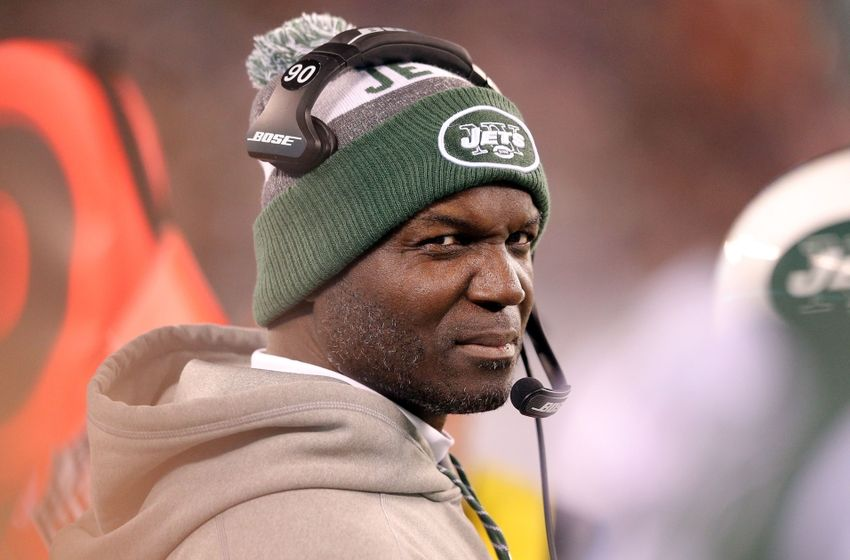Nov 27, 2016; East Rutherford, NJ, USA; New York Jets head coach Todd Bowles coaches against the New England Patriots during the fourth quarter at MetLife Stadium. Mandatory Credit: Brad Penner-USA TODAY Sports