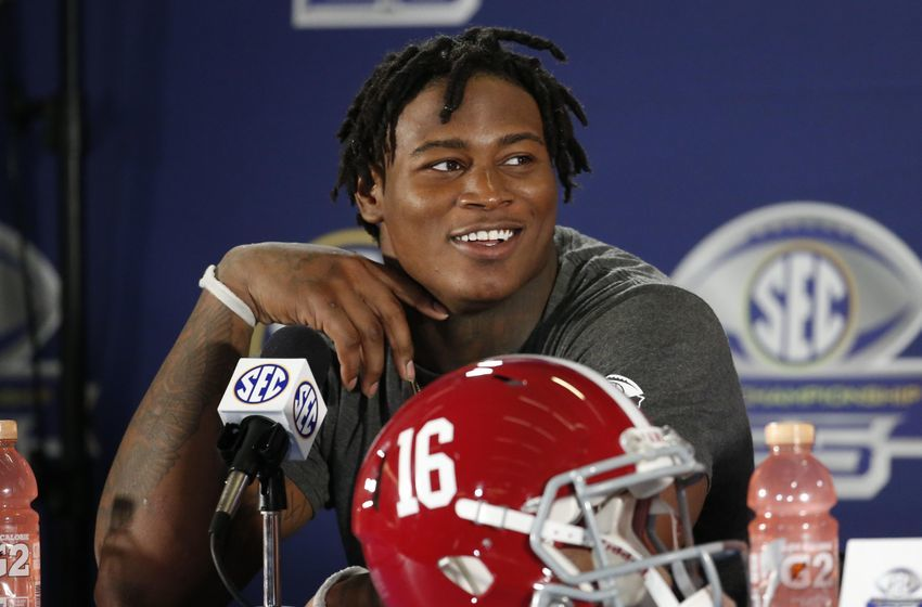 Dec 3, 2016; Atlanta, GA, USA; Alabama Crimson Tide linebacker Reuben Foster (10) attends a press conference after the SEC Championship college football game against the Florida Gators at Georgia Dome. Alabama defeated Florida 54-16. Mandatory Credit: Jason Getz-USA TODAY Sports