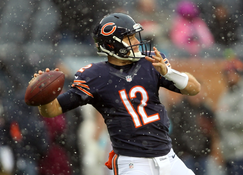31bbd21b1e7 Dec 4, 2016; Chicago, IL, USA; Chicago Bears quarterback Matt Barkley (12)  warms-up before the game against the San Francisco 49ers at Soldier Field.