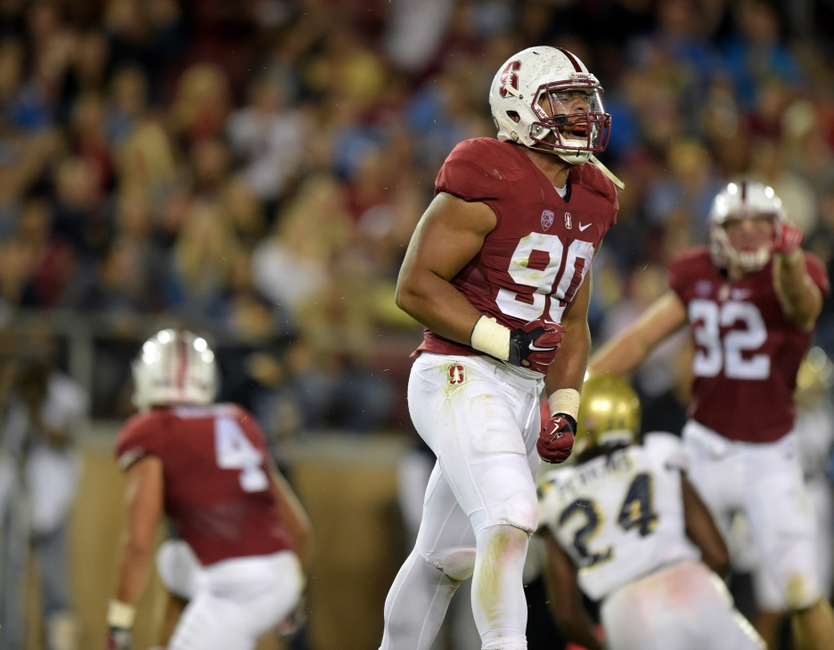 Oct 15, 2015; Stanford, CA, USA; Stanford Cardinal defensive tackle Solomon Thomas (90) celebrates after a tackle in the second quarter against the UCLA Bruins in a NCAA football game at Stanford Stadium. Mandatory Credit: Kirby Lee-USA TODAY Sports