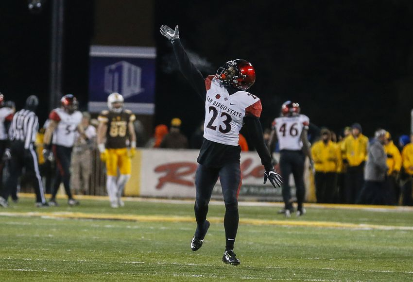 Dec 3, 2016; Laramie, WY, USA; San Diego State Aztecs cornerback Damontae Kazee (23) waves to the crowd after game against the Wyoming Cowboys at the Mountain West Championship college football game at War Memorial Stadium. The Aztecs beat the Cowboys 27-24. Mandatory Credit: Troy Babbitt-USA TODAY Sports