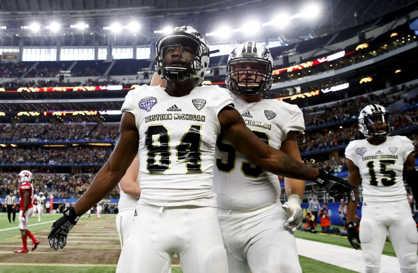Jan 2, 2017; Arlington, TX, USA; Western Michigan Broncos wide receiver Corey Davis (84) reacts after catching a touchdown pass during the second half of the 2017 Cotton Bowl against the Wisconsin Badgers at AT&T Stadium. Mandatory Credit: Kevin Jairaj-USA TODAY Sports