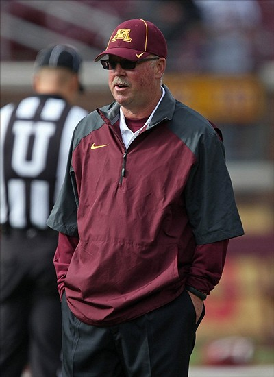 Sep 21, 2013; Minneapolis, MN, USA; Minnesota Golden Gophers head coach Jerry Kill looks on during pre game before a game against the San Jose State Spartans at TCF Bank Stadium. Mandatory Credit: Jesse Johnson-USA TODAY Sports