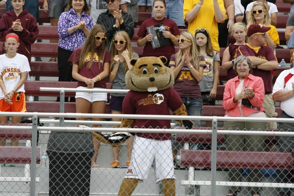 "Goldy the Gopher at the University of Minnesota's ""Minnesota Gold Soccer Classic"" at Elizabeth Lyle Robbie Stadium."