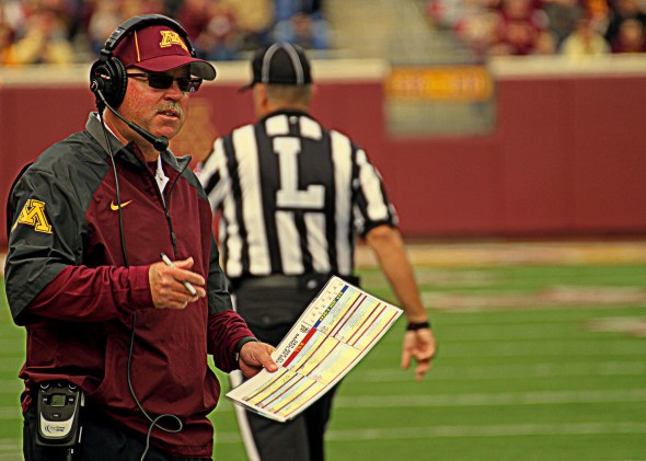 Minnesota head coach Jerry Kill on sideline of Gophers game versus San Jose State
