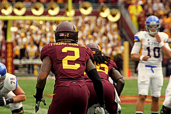 Gophers safety Cedric Thompson before intercepting San Jose State's David Fales