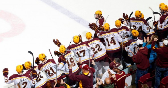 Minnesota Golden Gophers men's hockey bench