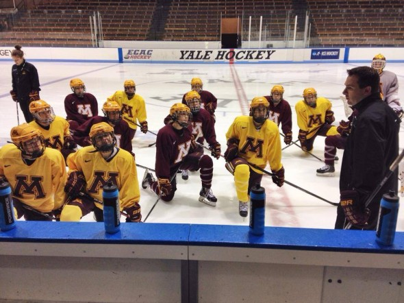 Gophers women's hockey practice at Yale