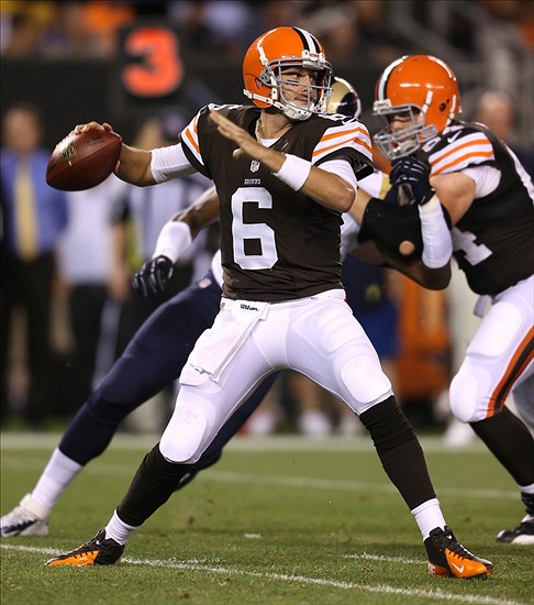 Aug 8, 2013; Cleveland, OH, USA; Cleveland Browns quarterback Brian Hoyer (6) throws against the St. Louis Rams during the fourth quarter at FirstEnergy Field. Mandatory Credit: Ron Schwane-USA TODAY Sports