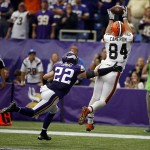 Sep 22, 2013; Minneapolis, MN, USA; Cleveland Browns tight end Jordan Cameron (84) beats Minnesota Vikings safety Harrison Smith (22) for a touchdown reception late in the fourth quarter at Mall of America Field at H.H.H. Metrodome. The Browns win 31-27. Mandatory Credit: Bruce Kluckhohn-USA TODAY Sports