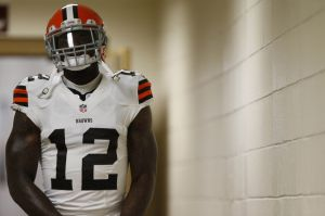 Aug 18, 2014; Landover, MD, USA; Cleveland Browns wide receiver Josh Gordon (12) walks out of the locker room prior to the Browns