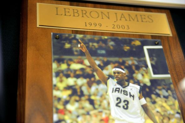 Aug 8, 2014; Akron, OH, USA; A plaque of LeBron James inside of St. Vincent St. Mary High School prior to the LeBron James Family Foundation Reunion and Rally at InfoCision Stadium. Mandatory Credit: Andrew Weber-USA TODAY Sports