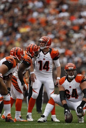 Sep 29, 2013; Cleveland, OH, USA; Cincinnati Bengals quarterback Andy Dalton (14) calls out a play during the third quarter against the Cleveland Browns at FirstEnergy Stadium. Browns beat the Bengals 17-6. Mandatory Credit: Raj Mehta-USA TODAY Sports