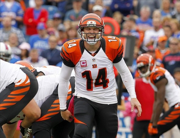 Oct 13, 2013; Orchard Park, NY, USA; Cincinnati Bengals quarterback Andy Dalton (14) calls a play during the first half against the Buffalo Bills at Ralph Wilson Stadium. Mandatory Credit: Timothy T. Ludwig-USA TODAY Sports