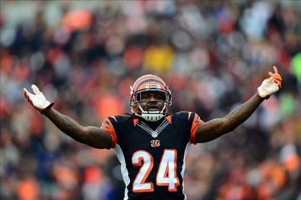 Dec 29, 2013; Cincinnati, OH, USA; Cincinnati Bengals cornerback Adam Jones (24) pumps up the crowd during the second quarter against the Baltimore Ravens at Paul Brown Stadium. Mandatory Credit: Andrew Weber-USA TODAY Sports