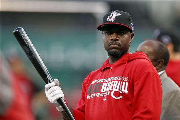 Oct 1, 2013; Pittsburgh, PA, USA; Cincinnati Reds second baseman Brandon Phillips before the National League wild card playoff baseball game against the Pittsburgh Pirates at PNC Park. Mandatory Credit: Charles LeClaire-USA TODAY Sports