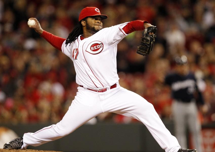May 3, 2014; Cincinnati, OH, USA; Cincinnati Reds starting pitcher Johnny Cueto (47) pitches during the eighth inning against the Milwaukee Brewers at Great American Ball Park. The Reds defeated the Brewers 6-2. Mandatory Credit: Frank Victores-USA TODAY Sports