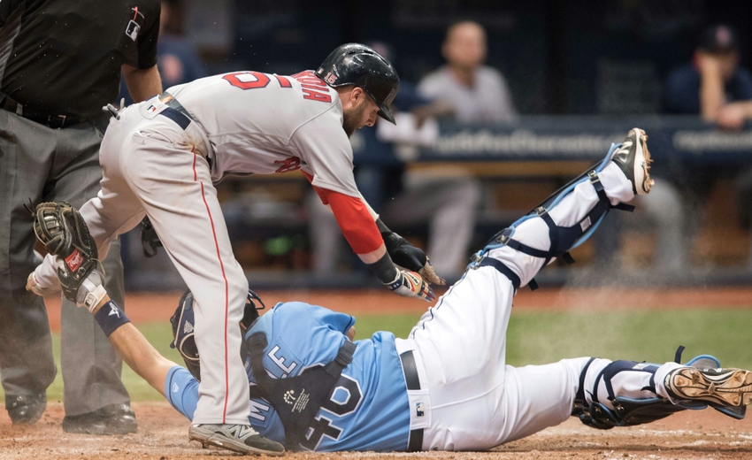 9565574-luke-maile-dustin-pedroia-mlb-boston-red-sox-tampa-bay-rays