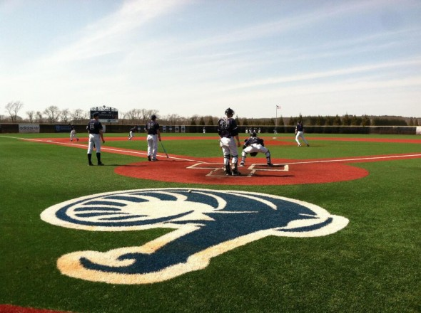 The Rhode Island Rams baseball team gets ready at Bill Beck Field. Free use image. Mandatory Credit: Rhody Baseball (@RhodyBaseball), twitter.com