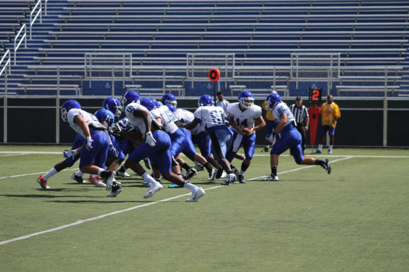 August 14, 2013: The Central Connecticut State Blue Devils football team conducts a preseason scrimmage. Free use image. Mandatory Credit: CCSU Blue Devils (@CCSUBlueDevils), twitter.com