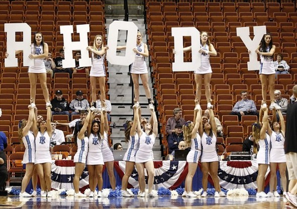 Nov 18, 2012; Uncasville, CT, USA; The Rhode Island Rams cheerleaders perform during the second half of a game against the Seton Hall Pirates at Mohegan Sun Arena. Mandatory Credit: Mark L. Baer-USA TODAY Sports