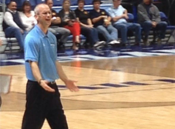 Rhode Island Rams head coach Dan Hurley patrols the sidelines during URI's exhibition against Southern Connecticut State. Free use image. Mandatory Credit: chariho_bball, instagram.com