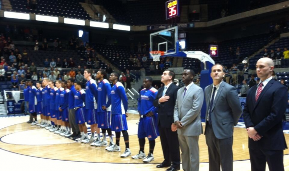 Nov 23, 2013; Kingston, RI, USA; The UMass Lowell men's basketball team lines up for the National Anthem. Free use image. Mandatory Credit: UMassLowellAthletics (@riverhawknation), twitter.com