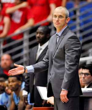 Nov 19, 2013; Tucson, AZ, USA; Rhode Island Rams head coach Dan Hurley instructs his players during the second half against the Arizona Wildcats at McKale Center. The Wildcats beat the Rams 87-59. Mandatory Credit: Casey Sapio-USA TODAY Sports
