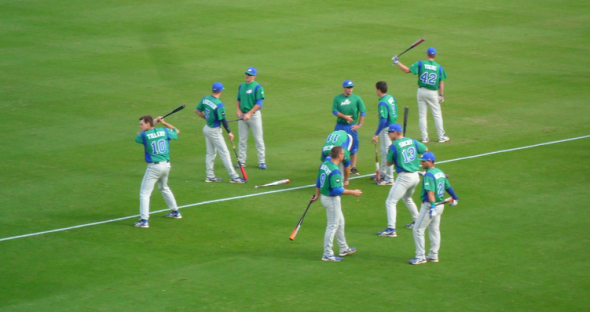 The Florida Gulf Coast Eagles baseball team stretches before a game. Free use image. Mandatory Credit: arctic_whirlwind, flickr.com