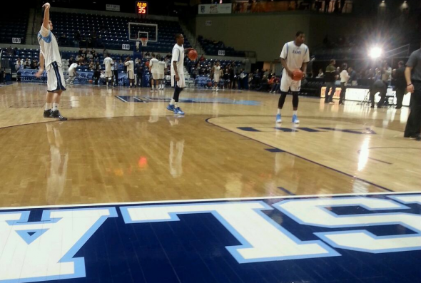 The Rhode Island Rams go through their pregame warmups at the Ryan Center. Free use image. Mandatory Credit: @megemurr, twitter.com