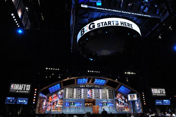 Jun 27, 2013; Brooklyn, NY, USA; A general view of the stage after the first round of the 2013 NBA Draft at the Barclays Center. Mandatory Credit: Joe Camporeale-USA TODAY Sports
