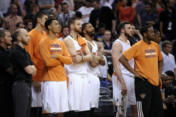 Apr 14, 2014; Phoenix, AZ, USA; Phoenix Suns players look on against the Memphis Grizzlies during the second half at US Airways Center. The Grizzlies won 97-91. Mandatory Credit: Joe Camporeale-USA TODAY Sports