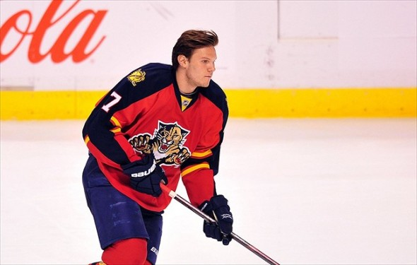 Jan. 9, 2012: Sunrise, FL, USA; Florida Panthers defenseman Dmitry Kulikov (7) warms up before a game against the Vancouver Canucks at the BankAtlantic Center. Mandatory Credit: Steve Mitchell-USA TODAY Sports
