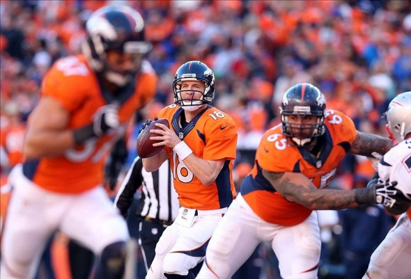 Jan 19, 2014; Denver, CO, USA; Denver Broncos quarterback Peyton Manning (18) drops back to pass during the first half against the New England Patriots during the 2013 AFC championship playoff football game at Sports Authority Field at Mile High. Mandatory Credit: Matthew Emmons-USA TODAY Sports