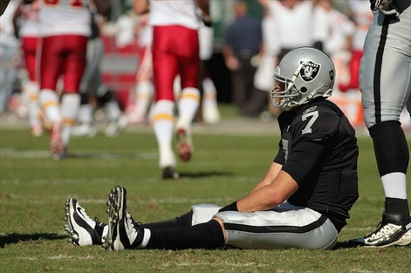 Oct 23, 2011; Oakland, CA, USA; Oakland Raiders quarterback Kyle Boller (7) sits on the ground after throwing his second interception of the game Kansas City Chiefs in the first quarter at O.co Coliseum. Mandatory Credit: Cary Edmondson-USA TODAY Sports