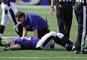Sep 15, 2013; Baltimore, MD, USA; Baltimore Ravens running back Ray Rice (27) is looked at by a team trainer after suffering an apparent hip injury