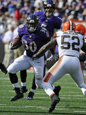 Sep 15, 2013; Baltimore, MD, USA; Baltimore Ravens running back Bernard Pierce (30) runs with the ball against Cleveland Browns