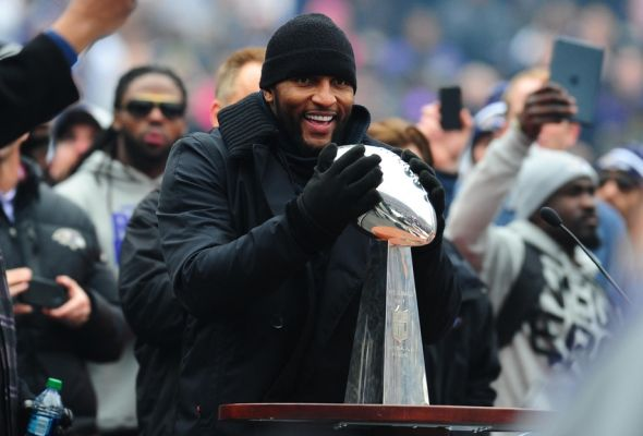 Feb 5, 2013; Baltimore, MD, USA; Baltimore Ravens linebacker Ray Lewis holds the Vince Lombardi Trophy during the Super Bowl XLVII celebration at M&T Bank Stadium. Mandatory Credit: Evan Habeeb-USA TODAY Sports
