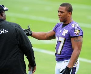 Jun 19, 2014; Baltimore, MD, USA; Baltimore Ravens running back Ray Rice (27) talks during minicamp at the Under Armour Performance Center. Mandatory Credit: Evan Habeeb-USA TODAY Sports